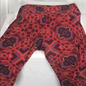 LuLaRoe Leggings Red Purple Black